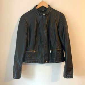 A.N.A. Black Faux Leather Quilted Zip Up Jacket XL